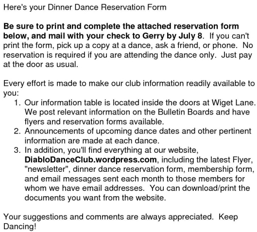 HereS Your Dinner Dance Reservation Form  Diablo Dance Club